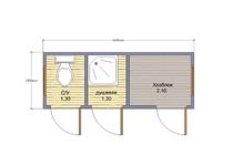 Бытовка с туалетом и душевой 4х1.5